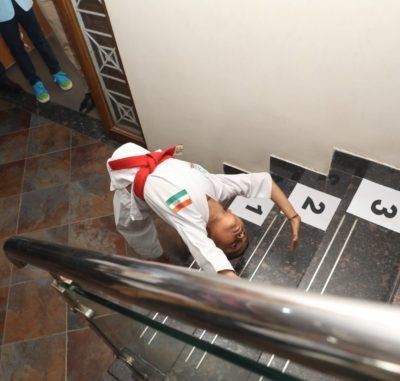 MOST STAIRS CLIMBING IN CHAKRASANA POSITION